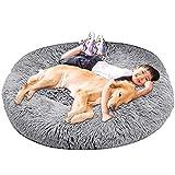 HANHAN Donut - Cama para perro extragrande XXL ortopédico acogedor cojín de mimbre calmante antiansiedad xxxl sofá esponjoso cueva cesta para dormir lavable colchón mediano XL Jumbo gris