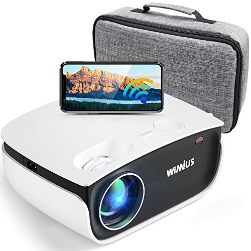 """WiFi Projector 5500Lux HD, Bluetooth Mini Projector Zoom 50%, WiMiUS New S25 Home & Outdoor Movie Projector Support 1920 x 1080P 200"""" Screen, Compatible w/ Fire TV Stick, PS4, Laptop, iPhone, DVD"""