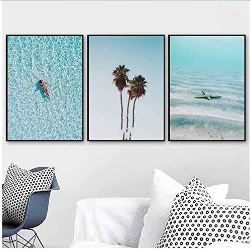 RuiChuangKeJi Wandkunst Leinwand Malerei Palme Schildkröte Mädchen Sea Beach Schiff Nordic Poster und Drucke Wandbilder für Wohnzimmer Home Decor 3x60x80cm (23,6x31.5in) mit Rahmen