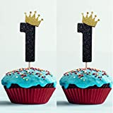 Hongkai 24pcs Crown Number 1 ONE Cake Toppers Cupcake 1st Birthday Decorations First Happy Birthday Gender Reveal Baby Shower Party Decorations Supplies