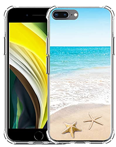 Case for Phone 7 Plus Beach MUQR Flexible Gel Silicone Slim Drop Proof Protection Cover Compatible with iPhone 8 Plus & Case for Phone 7 Plus Cover - Beach Wave Starfish Design