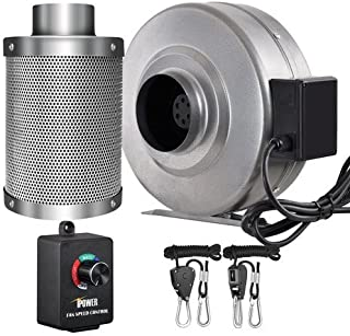 iPower 4 Inch 190 CFM Inline Fan Carbon Filter Combo with Variable Speed Controller 8 Feet Rope Hanger for Grow Tent Ventilation