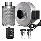 iPower 4 Inch 190 CFM Inline Fan Carbon Filter Combo with Variable Speed Controller 8 Feet Rope Hanger for Grow Tent Ventilation, 4' Fan & Filter, Grey