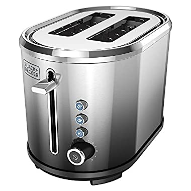 BLACK+DECKER 2-Slice Extra-Wide Slot Toaster, Stainless Steel, Ombré Finish, TR2300FB
