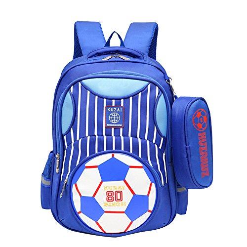 Adanina Basisvoetbal Prints Trolley Rugzak Kinderen Voetbal School Rolling Bag Primaire Wheeled Book Bag met Potlood Case voor Jongens