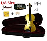 Merano 1/8 Size Gold Violin with Case and Bow+Extra Set of Strings, Extra Bridge, Shoulder Rest, Rosin, Metro Tuner, Black Music Stand, Mute