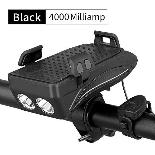 myf Luz Delantera De Bicicleta Recargable USB De 3 Modos con Soporte para Teléfono De Bicicleta y Banco De Energía y Campanas De Bicicleta