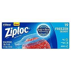 Ziploc Freezer Bags, Easy Open Tabs, Quart, 19 Ct
