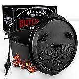 Black Bull BBQ Dutch Oven Set [9L] - Pentola in ghisa con piedini di appoggio e coperchio - Con...