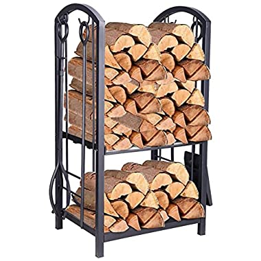 Pinty Heavy Duty Firewood Log Rack Firewood Storage Fireplace Tool Set with 4 Tools