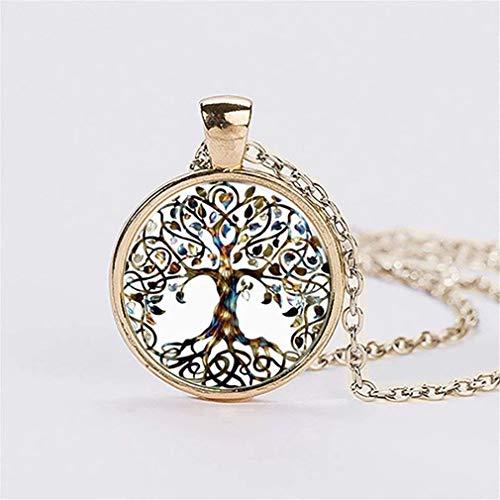 Natthom - Collana lunga da donna con ciondolo con albero della vita decorato con vetro e gemme, oro