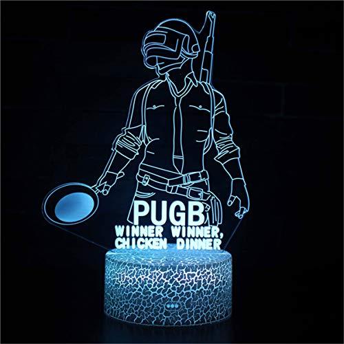 3D noche luz 3D llevó ilusión lámpara 3D ilusión lámpara 16 colores cambiantes deporte ventilador decoración habitación niños idea