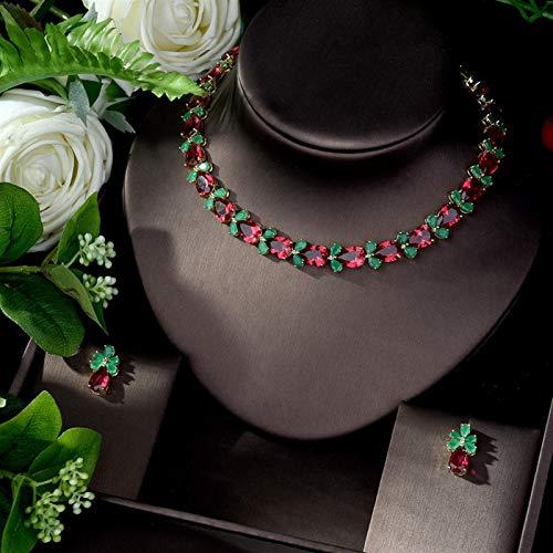 Jskdzfy Juego de joyas de gota de agua verde y rojo para mujer, para boda, circonita cúbica, juego de pendientes y collar (color: A)