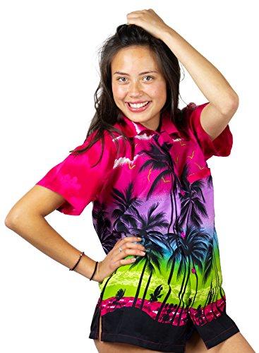 Funky Camisa Blusa Hawaiana, Manga Corta, Beach, Rosada, XS