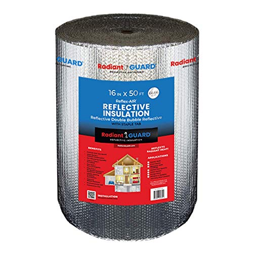 RadiantGUARD Reflex-Air Double Bubble Insulation Roll (67 sq ft roll | 16-inch X 50-feet) Vapor...