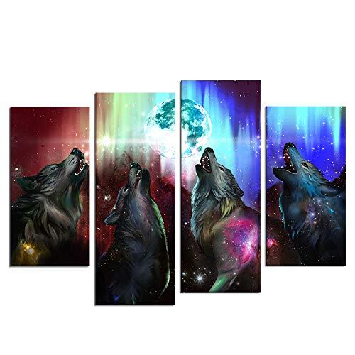 Biuteawal - Póster de 4 piezas, diseño de animales para pared, diseño de lobo aullando a la luna
