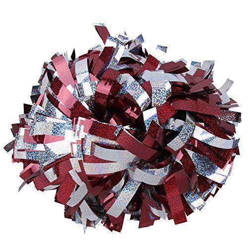 ICOCHEER Cheerleading Pom Poms Metalic Holographic Cheerleader 6 inch 1 Pair 2 Pieces (Maroon/Silver)