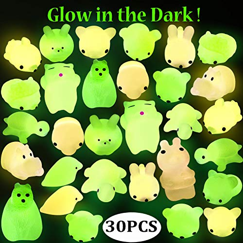 Outee Mochi Animals Stress Toys, 30 Pcs Mini Stress Relief Toys Mochi Animals Toys Kawaii Mochi Cat Glow in The Dark Relief Stress Toys for Kids Adults