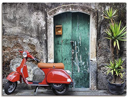 Artland Leinwandbild Wandbild Bild auf Leinwand 80x60 cm Wanddeko Toskana Italien Motorrad Roller Urlaub Sommer Mediterran Modern Kunst T5RR
