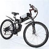 HIGHKAS Vélo de Montagne électrique Ebikes Léger Pliable 48v 250w Moteur Vélo Hommes Femmes E-Bike Pédale Assist Batterie au Lithium Pédales Vélos Fat Tire Snow (26 Pouces)
