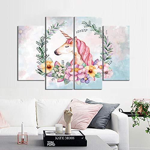 BBXJJ canvas afbeelding 5 stuks eenhoorn onder het slinger schilderij 4Pcs (No Frame) Printd op canvas kunst modern Home Wall Art Hd 25x50cmx2 25x65cmx2