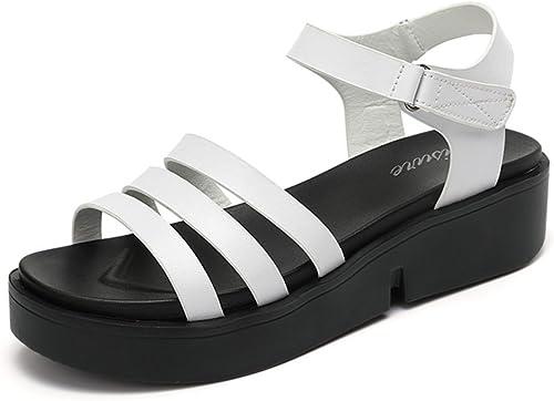 HAIZHEN chaussures pour femmes 5cm Sandales étudiantes féminines d'été Sandales épaisses (Blanc Noir) Pour femmes (Couleur   Blanc, taille   EU39 UK6.5 CN40)