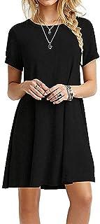 ZNYSTAR Donna Manica corta estate allentato vestito casuale camicette Abito allentato tunica vestito casuale T-shirt