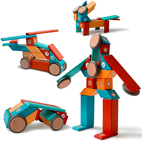 MAGBLOCK 22 Pieces Magnetic Wooden Blocks STEM Magnetic Robot Car Set for 3 4 5 Year Old Age Girls Boys Creativity Magnet Block Toys