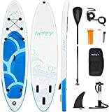INTEY Stand Up Paddle Board Gonflable, Sup Planche en PVC Construction Ultra Robuste, Kit avec Pagaie, Pompe à Double Action, Sac à Dos, Boîte de réparation, Leash, Aileron
