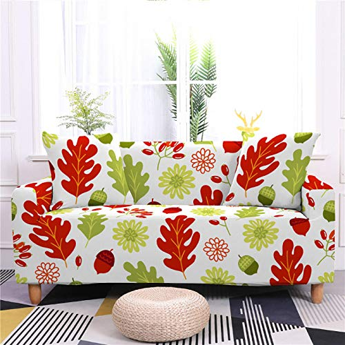 Universal Sofa Cover Spandex Stretch Couch Slipcover Green Red Leaf Pattern Tight Fitted Armchair Loveseat Settee Cover 1/2/3/4 Seater Sofa Protector,3,seater 190,230cm
