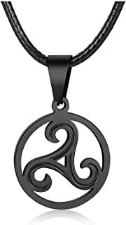 PJ Jewelry Men's Celtic Symbol Triskelion Pendant Stainless Steel Triskele Triple Spiral Necklace with Leather Chain