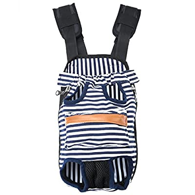 GEEPET Legs Out Front-Facing Dog Carrier Hands-Free Adjustable Pet Puppy Cat Backpack Carrier for Walking Hiking Bike and Motorcycle (Large, Stripe)