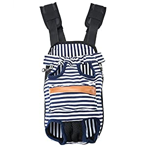GEEPET Legs Out Front-Facing Dog Carrier Hands-Free Adjustable Pet Puppy Cat Backpack Carrier for Walking Hiking Bike and Motorcycle (Small, Stripe)