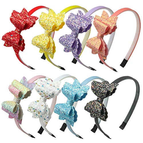 Glitter Bows Girls Hairbands Sequin Hair Bows Headband Party Gift Supplier Hair Accessoires Pack of 8