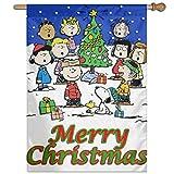 WOMFUI Peanuts Comic Christmas Party Garden Flag Unique Decoration Outdoor Flag