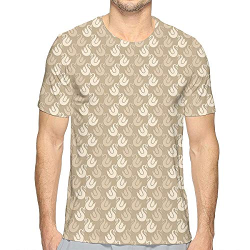 Mens 3D Printed T Shirts,Rococo Style Abstract Curvy Silhouettes with Antique Look In Brown Shades XXL