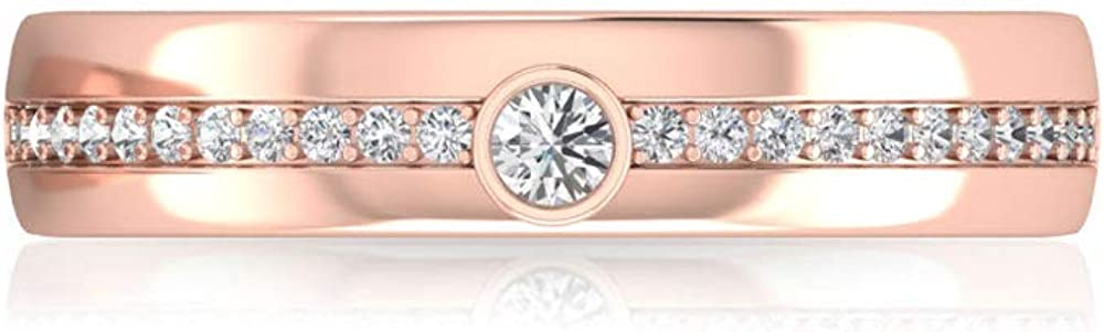 1/4 CT Moissanite Unisex Band Ring (AAA Quality), 14K Gold