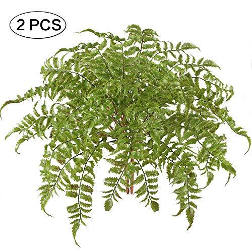 Jia Hu 2Künstliche Boston Farn Pflanzen Fake Kunststoff Blätter Blumensträuße Wasserdicht für Home Tisch Küche Büro Decor