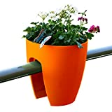 Greenbo Deck Rail Planter Box with Drainage trays, round 12-Inch, Color Orange- Set of 6