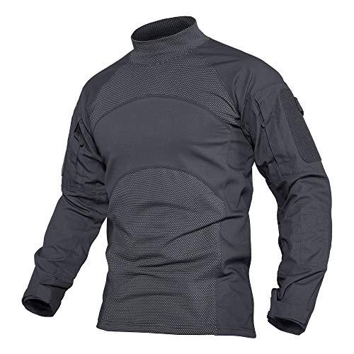 MAGCOMSEN Herren Tactical Shirt Outdoorhemd Slim Fit Trainingsshirt für Herrenhemd Sommer Sweatshirt Atmungsaktiv Combat Oberteil Safari Shirt mit Ärmeltaschen Grau L