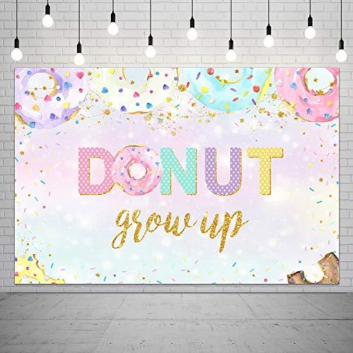 Fotohintergrund, 1,5 x 0,9 m, bunt, Donuts, Streusel, Konfetti, süße Desserts, Mädchen, Prinzessin, Portrait, Fotobanner für Kuchen, Tischdekoration