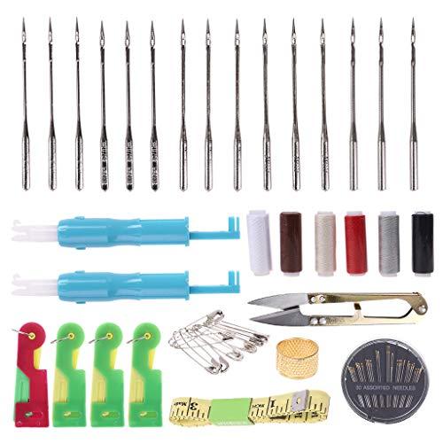 Fugift Juego de 105 agujas de coser a mano automáticas enhebradores de agujas de hilo, tijeras de hilo, hilos de cinta madura, alfileres de manualidades