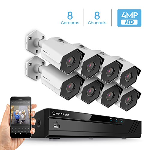 Amcrest 4MP Security Camera System, W/ 4K 8CH PoE NVR, (8) x 4-Megapixel 3.6mm Wide Angle Lens Weatherproof Metal Bullet POE IP Cameras, NV4108E-HS-IP4M-1026EW8 (White)