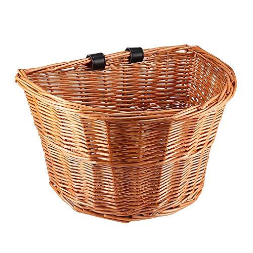 Jabroyee, cestino da bicicletta vintage in vimini, a forma di D, con cinghie per manubrio marroni, per bambini/ragazzi/ragazze, ragazza, 5509BM0608BO014J1DS9SA, Onigno