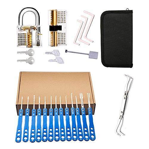 Loboo Idea Juego de ganzúas de acero inoxidable de 18 piezas con 2 candados de entrenamiento transparentes, kit de herramientas para abrir cerraduras