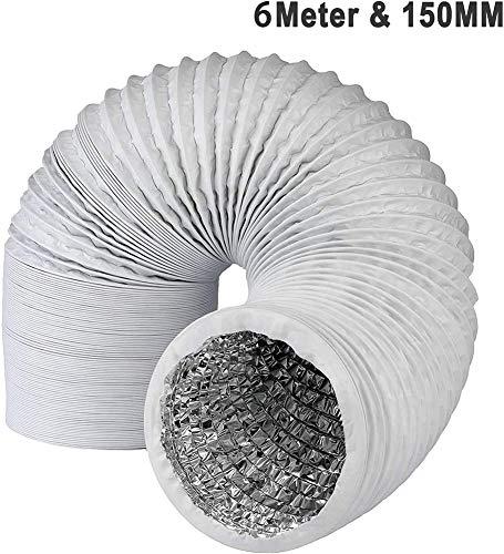 Klimaanlage, Abluftschlauch PVC Flexibel 6m * 15cm für Trockner, Klimaanlage, Abzugshaube, Wäschetrockner Stabil und Wärmeisoliert Abluftschlauch Klimagerät