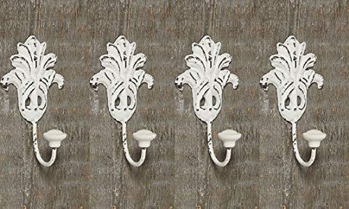 Tamia-Home Wandhaken Kleiderhaken Metallhaken Haken für Bad Küche Garderobe, Haken im Retro Vintage Stil (4er Weiss Tulpen)
