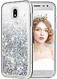 wlooo Funda para Samsung Galaxy J3 2017, Glitter liquida Cristal Silicona Lujo 3D Bling Flowing Transparente Cover Protector Suave TPU Bumper Case Brillante Arena movediza Carcasas