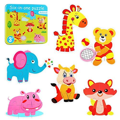 Puzzles de Madera Infantiles Juguetes Niños 3 Años Educativos Herramientas Divertidos(Animal)