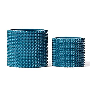 Teal Ceramic Vintage Style Hobnail Patterned Planter Pots – 6 and 5 Inch Containers with Watering Drain Plug for Indoor Succulent Plants or Flowers